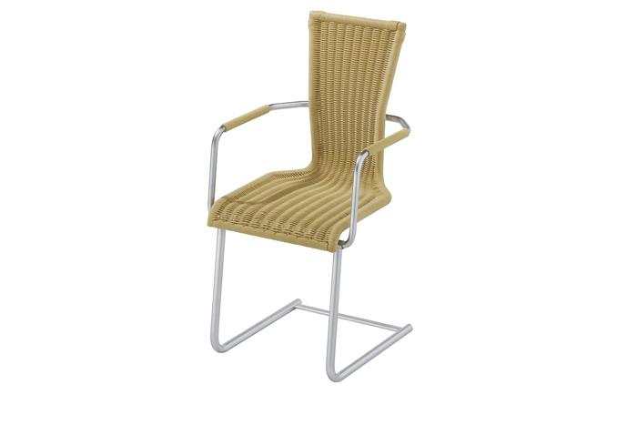 Freischwinger geflecht schwarz for Stuhl holzschale