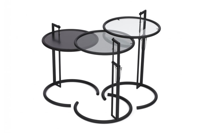 adjustable table e1027 black version von classicon design eileen gray 1927. Black Bedroom Furniture Sets. Home Design Ideas